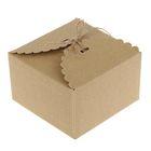 Коробка крафт из рифленого картона 13 х 13 х 8 см, шнур