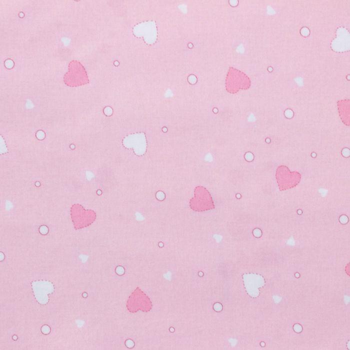 Фланель Розовые сердца 160 г/м2, ширина 150 см, длина 10 м, 100% хлопок