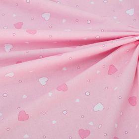 Фланель Розовые сердца 160 г/м2, ширина 150 см, длина 10 м, 100% хлопок Ош