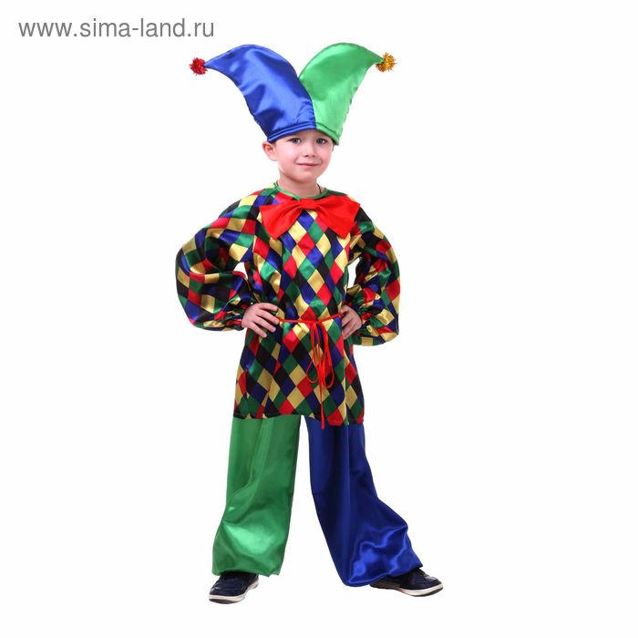 """Карнавальный костюм """"Клоун Кеша"""", рубашка, штаны, шапка, бант, р-р 30, рост 116 см"""