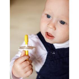 Зубная щётка детская, набор с ограничителем, 2 шт.: щётка, массажёр, от 4 мес.