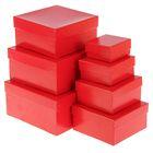 "Набор коробок 7в1 ""Глянец красный"" 20 х 20 х 10 - 7 х 7 х 4 см"