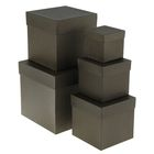 "Набор коробок 5в1 ""Крафт черный"" 22,5 х 22,5 х 22,5 - 9,5 х 9,5 х 9,5 см"