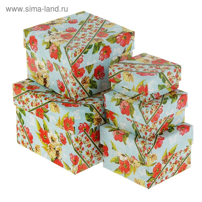 """Набор коробок 5 в 1 """"Акварель с полоской"""", 12 х 12 х 9 - 6 х 6 х 3 см"""