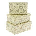 """Набор коробок 3в1 """"Золотые сердца и бабочки"""", 23 х 16 х 9,5 - 19 х 12 х 6,5 см"""