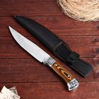 The knife is awkward in the case, the blade is drop-point, 18 cm, wooden handle, insert pattern, chrome