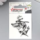 """Татуировка на тело """"Акула с якорем"""" 5,3х6,3 см"""