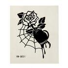 """Татуировка на тело """"Роза, паутина"""" 5,3х6,3 см"""