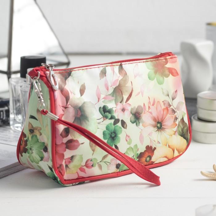Косметичка-сумочка, отдел на молнии, с ручкой, цвет бежевый/красный