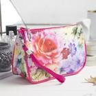 """Косметичка сумочка на молнии """"Цветочная фантазия"""", 1 отдел, с ручкой, цвет малиновый"""