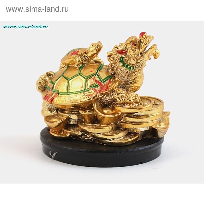 Нэцкэ золото черепаха на драконо-черепахе 3401 SB 045 h=6*12см
