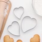 """Набор форм для вырезания печенья 7,5 х 6 см """"Сердце"""", 3 шт - фото 195102802"""