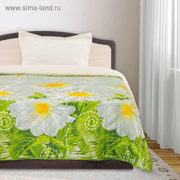 Покрывало ЭКОНОМ рис 75-70 зел/цветы 200х205 см, микро-сатин 75 г/м2