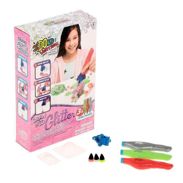 """3D-ручка """"Вертикаль. Блеск"""", 3 ручки с блёстками, """"Лесные друзья"""" (зелен +красн+серебр)"""
