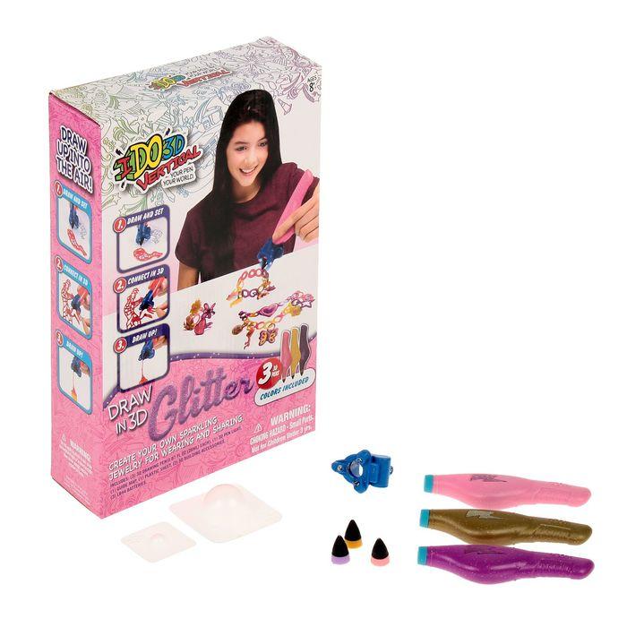 """3D-ручка """"Вертикаль"""" Блеск, 3 ручки с блестк, Ослепительные украш (роз+золот+пурпур)"""