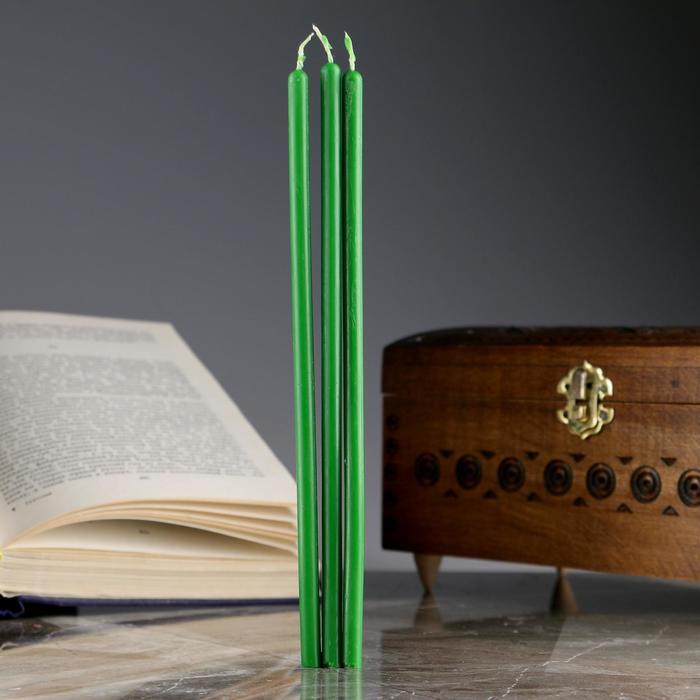 Набор магических свечей «Привлечение денег и богатства», 3 штуки, зелёные