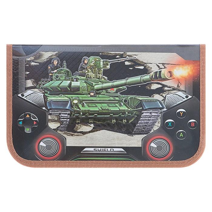 """Пенал 1 секция 115х190 мм, ламинированный картон, конгрев """"Танк"""""""