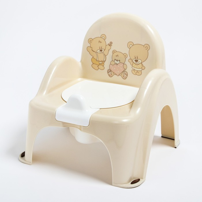 Горшок-стульчик «Мишки» с крышкой, антискользящий
