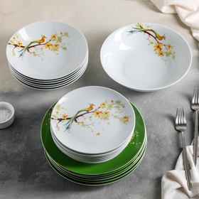 Сервиз столовый Paradise Bird, 19 предметов: тарелка десертная 6 шт, тарелка обеденная 6 шт, тарелка глубокая для супа 6 шт, салатник 1 шт