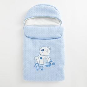 Конверт на молнии «Мишка с игрушками», цвет голубой
