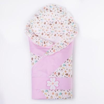 Конверт-одеяло с уголком, рост 68 см, цвет розовый К145