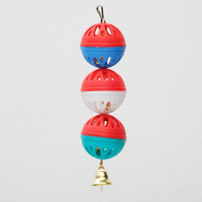 """Игрушка для попугая """"Забава"""" с 3 шариками, микс"""