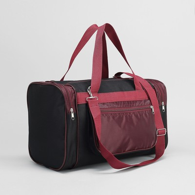 Сумка спортивная, отдел на молнии, 3 наружных кармана, цвет бордовый