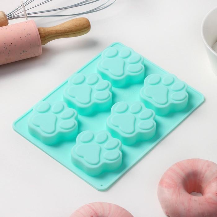 Форма для выпечки «Лапка», 19×14,5 см, 6 ячеек, цвет МИКС - фото 308045600