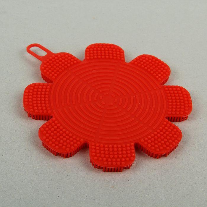 Губка силиконовая «Цветок», 13×13×1 см, цвет МИКС
