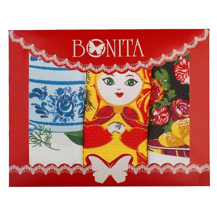 Набор вафельных полотенец Bonita Народны рисунки 44х59 см, 3шт, 120г/м, хл100%