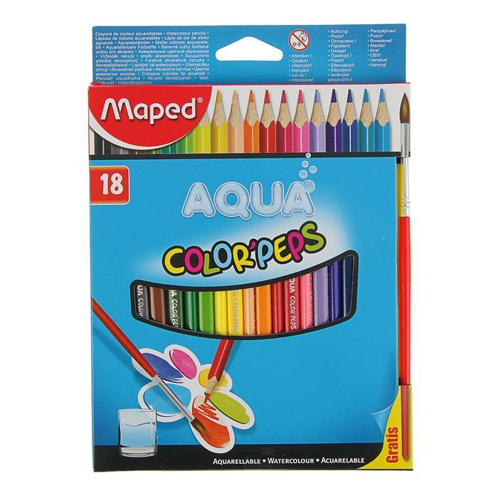 Карандаши акварельные трехгранные 18 цветов Color Pep's, с кистью