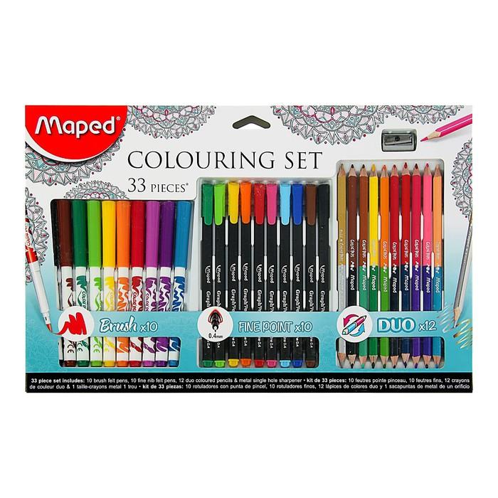 Набор для рисования Color Pep's 33 предмета: фломастеры, ручка капилярная, карандаши цветные двусторонние, точилка