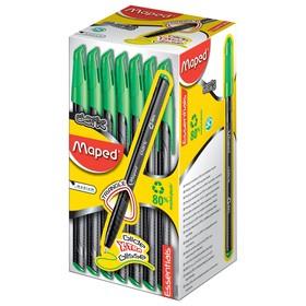 Ручка шариковая Green Dark, узел 0.6 мм, чёрные низкотекучие чёрнила, трехгранный корпус, одноразовая