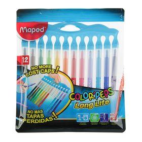 Фломастеры 12 цветов, Maped Color Peps Long Life, смываемые, заблокированный пишущий узел, нетеряемый колпачок