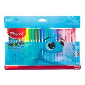 Фломастеры 24 цвета, Maped Color Peps, суперсмываемые, заблокированный пишущий узел, европодвес