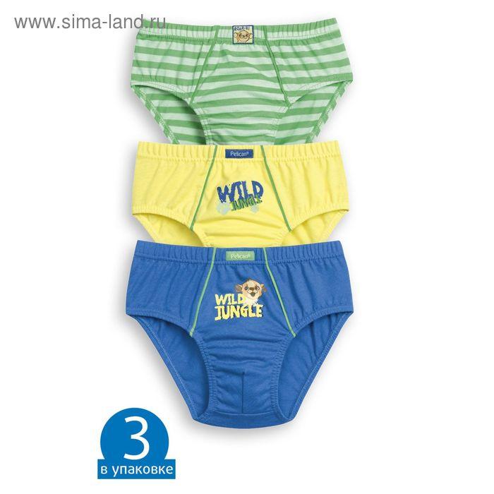 Трусы-слипы для мальчика - 3 шт., рост 110-116 см., цвет жёлтый/зелёный/синий BULB3012(3)