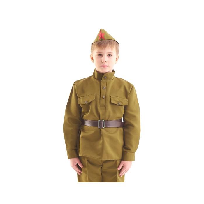 """Костюм военного """"Солдат"""", гимнастёрка, ремень, пилотка, 3-5 лет, рост 104-116 см - фото 105522229"""