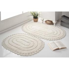 Набор ковриков для ванной MODALIN YANA, 60x100 см, 50x70 см 1600 г/м2, цвет кремовый