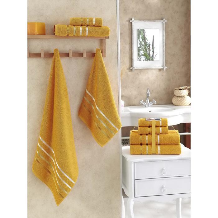 Комплект махровых полотенец Bale, размер 50 х 80 - 2 шт, 70 х 140 - 2 шт, тёмно-жёлтый - фото 7929596