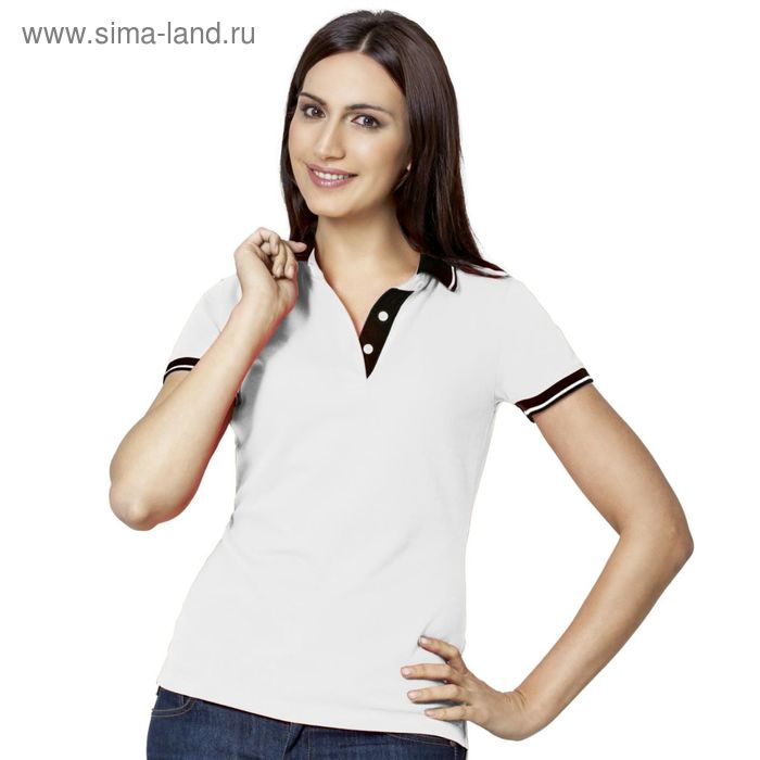 Рубашка-поло женская StanContrast, размер 46, цвет белый 185 м/г 04CW
