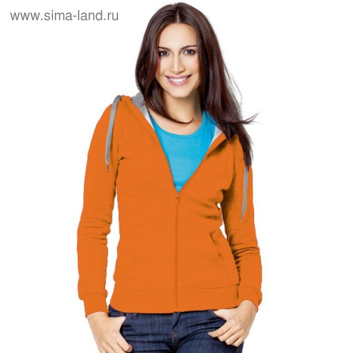 Толстовка женская StanStyle, размер 48, цвет оранжевый-серый меланж  280 г/м 17W