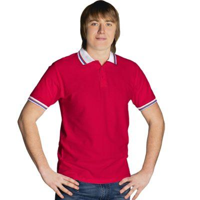 Рубашка-поло мужская StanRussian, размер 46, цвет красный-белый 185 г/м