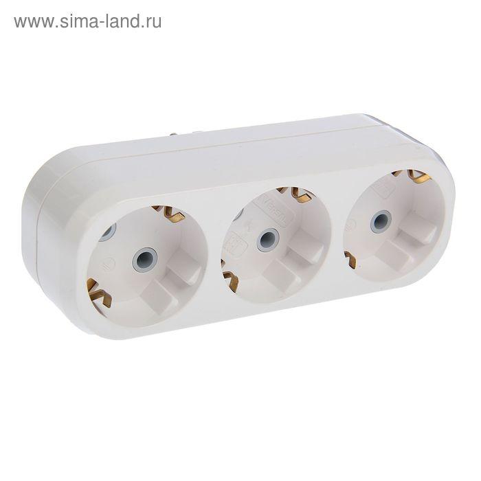 Разветвитель UNIVersal А303, 3 розетки, с з/к, 16 А, белый