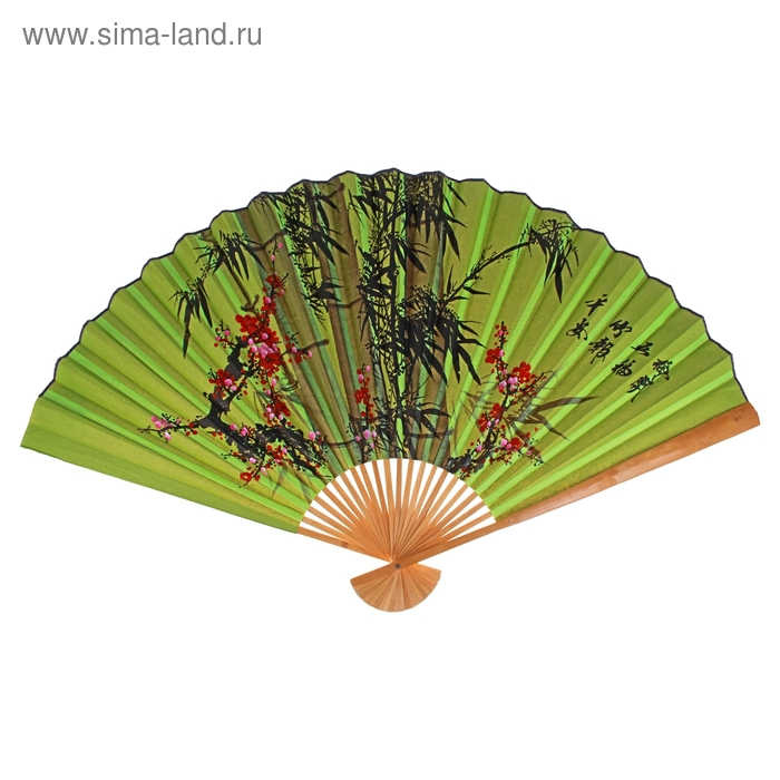 "Веер ""Бамбук"", цвет зелёный"