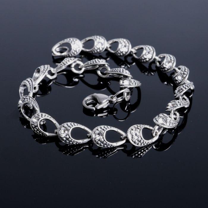 """Браслет """"Аврора"""", цвет белый в чернёном серебре"""