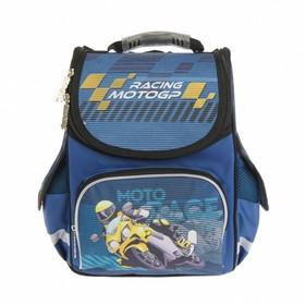 Ранец Стандарт Smart PG-11, 34 х 26 х 14 см, для мальчика, Moto, синий