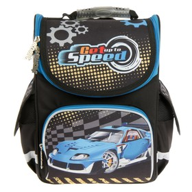 Ранец Стандарт Smart PG-11, 34 х 26 х 14 см, для мальчика, Blue car, чёрный