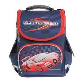Ранец Стандарт Smart PG-11, 34 х 26 х 14 см, для мальчика, World of speed, синий