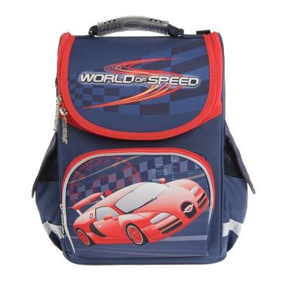 Ранец Smart PG-11 34*26*14 для мальчика, World of speed, синий