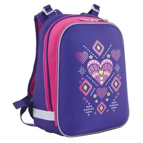 Рюкзак каркасный YES H-12 38 х 29 х 15 см, для девочки, Ornament, фиолетовый